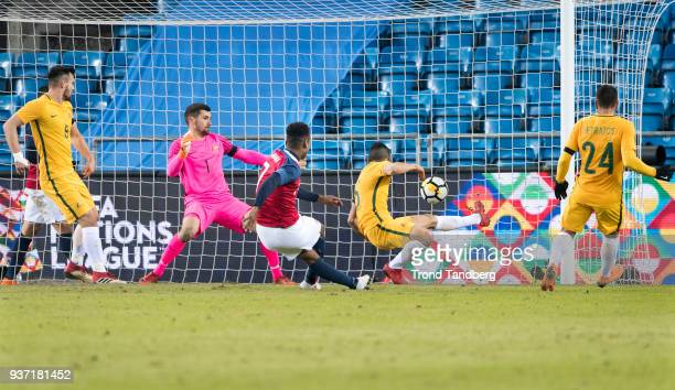 Ola Kamara of Norway during goal at the International Friendly between Norway v Australia at Ullevaal Stadion on March 23 2018 in Oslo Norway