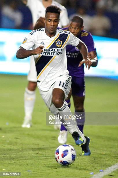 Ola Kamara of the Los Angeles Galaxy dribbles the ball down the field at StubHub Center on July 29 2018 in Carson California