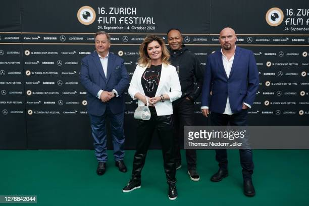 """Ola Strom, Shania Twain, Ray Parker Jr. And Fran Strine attend the """"Who you gonna call"""" photocall during the 16th Zurich Film Festival at Kino Corso..."""