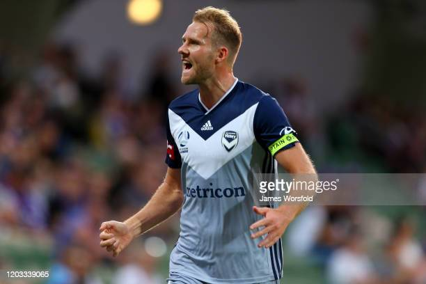 Ola Toivonen of Melbourne Victory celebrates his goal during the round 17 A-League match between the Perth Glory and the Melbourne Victory at HBF...