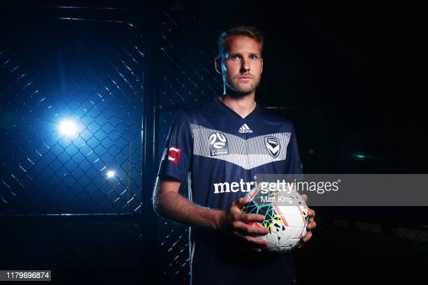 Ola Toivonen of Melbourne Victory poses during the ALeague 201920 ALeague season launch at Max Watts on October 08 2019 in Sydney Australia