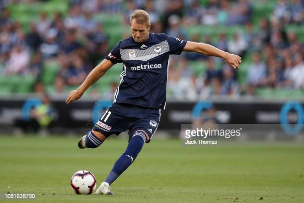 Ola Toivonen of Melbourne Victory shoots during the round 13 ALeague match between the Melbourne Victory and the Newcastle Jets at AAMI Park on...
