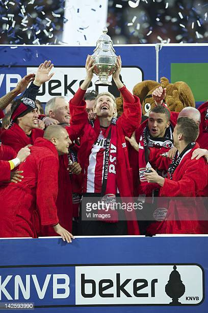 Ola Toivonen of PSV,Timothy Derijck of PSV,Ola Toivonen of PSV,Zakaria Labyad of PSV,Dries Mertens of PSV during the Dutch Cup final match between...