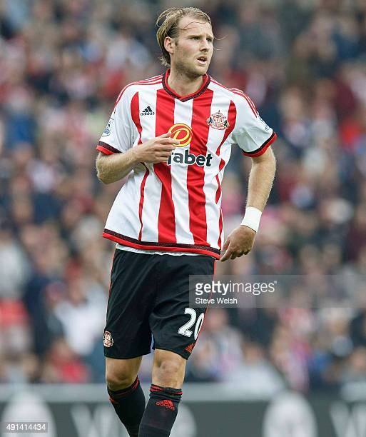 Ola Toivonen of Sunderland AFC during the Barclays Premier League match between Sunderland and West Ham United at the Stadium of Light on October 3...