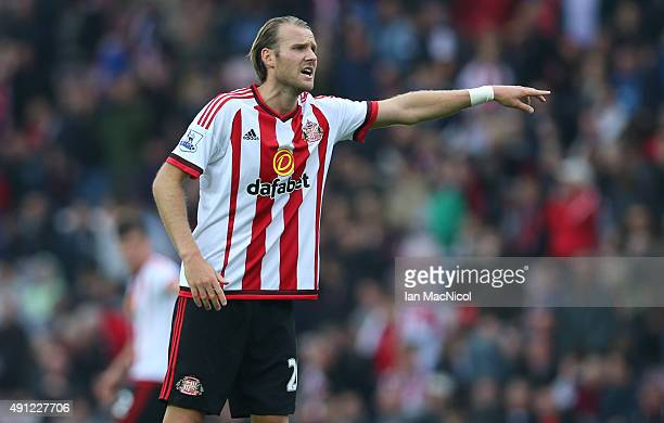 Ola Toivonen of Sunderland gestures during the Barclays Premier League match between Sunderland and West Ham United at The Stadium of Light on...