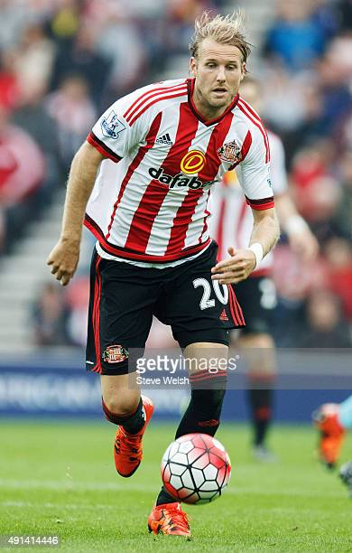 Ola Toivonen of Sunderland in action during the Barclays Premier League match between Sunderland and West Ham United at the Stadium of Light on...