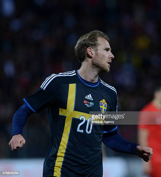 Ola Toivonen of Sweden celebrates after scoring a goal during the international friendly soccer match between Turkey and Sweden at the 19 Mayis...
