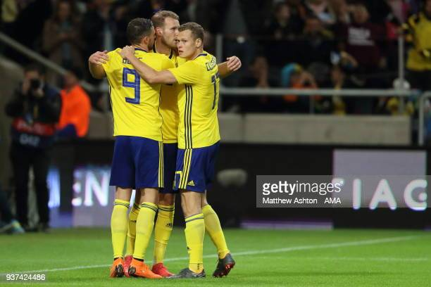 Ola Toivonen of Sweden celebrates after scoring a goal to make it 11 during the International Friendly match between Sweden and Chile at Friends...
