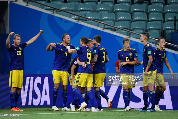 Ola Toivonen of Sweden celebrates after scoring his team's first goal with treammates during the 2018 FIFA World Cup Russia group F match between...