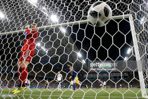 Ola Toivonen of Sweden celebrates after scoring his team's first goal past Manuel Neuer of Germany during the 2018 FIFA World Cup Russia group F...