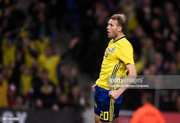 Ola Toivonen of Sweden celebrates after scoring to 11 during the International Friendly match between Sweden and Chile at Friends arena on March 24...