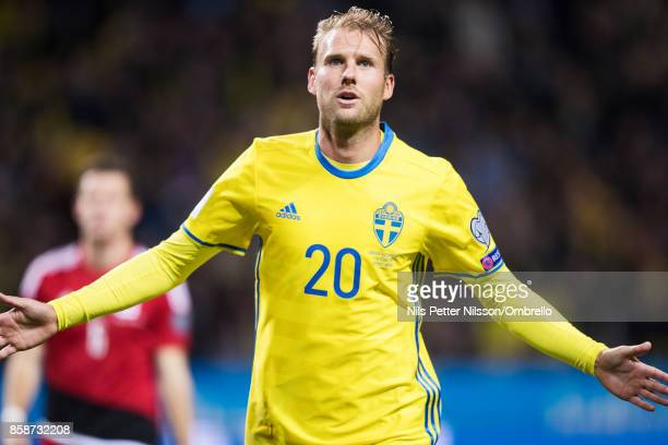 Ola Toivonen of Sweden celebrates after scoring to 80 during the FIFA 2018 World Cup Qualifier between Sweden and Luxembourg at Friends Arena on...