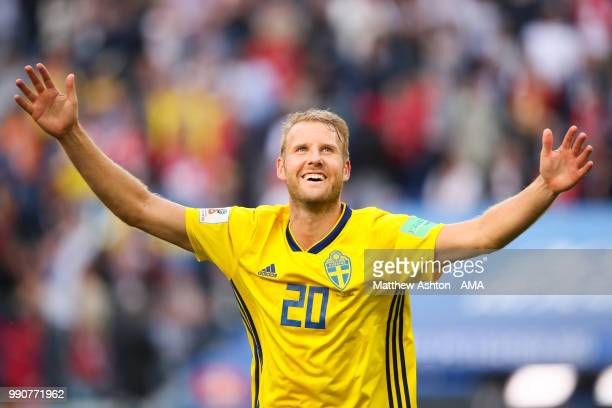 Ola Toivonen of Sweden celebrates at the end of the 2018 FIFA World Cup Russia Round of 16 match between Sweden and Switzerland at Saint Petersburg...
