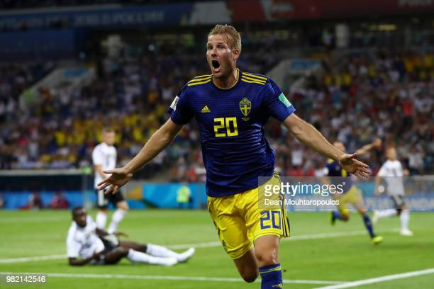 Ola Toivonen of Sweden celebrates scorin the opening goal during the 2018 FIFA World Cup Russia group F match between Germany and Sweden at Fisht...