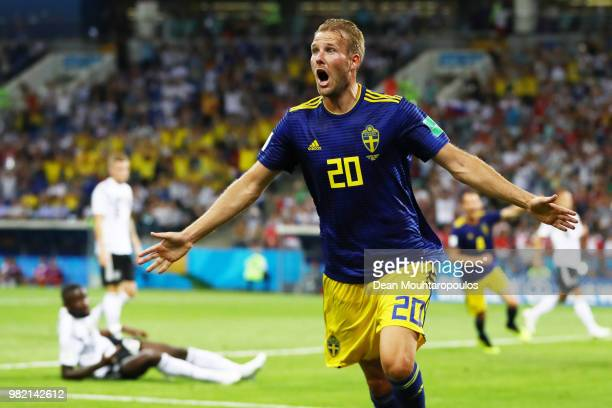 Ola Toivonen of Sweden celebrates scoring the opening goal during the 2018 FIFA World Cup Russia group F match between Germany and Sweden at Fisht...