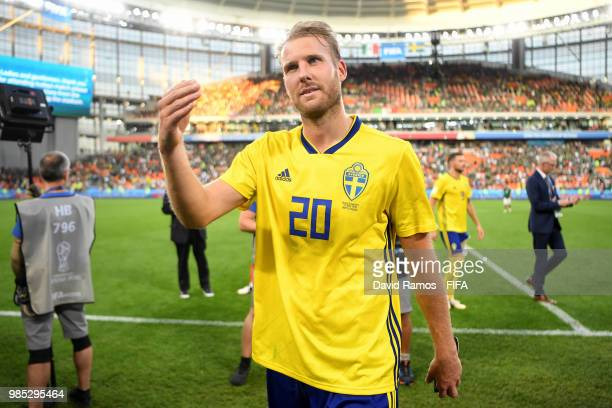 Ola Toivonen of Sweden celebrates victory during the 2018 FIFA World Cup Russia group F match between Mexico and Sweden at Ekaterinburg Arena on June...