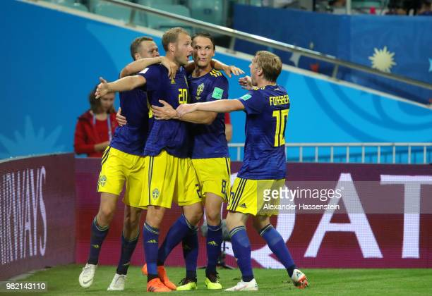 Ola Toivonen of Sweden celebrates with Emil Forsberg after scoring the opening goal during the 2018 FIFA World Cup Russia group F match between...