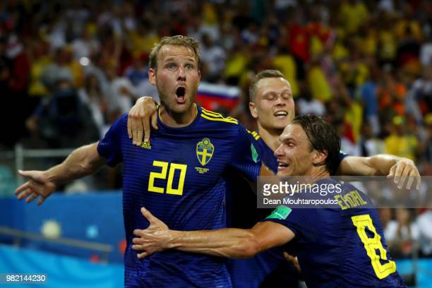 Ola Toivonen of Sweden celebrates with Viktor Claesson and Albin Ekdal after scoring the opening goal during the 2018 FIFA World Cup Russia group F...