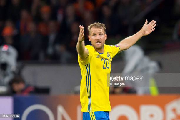 Ola Toivonen of Sweden gestures during the FIFA 2018 World Cup Qualifier between Netherlands and Sweden at Amsterdam Arena on October 10 2017 in...