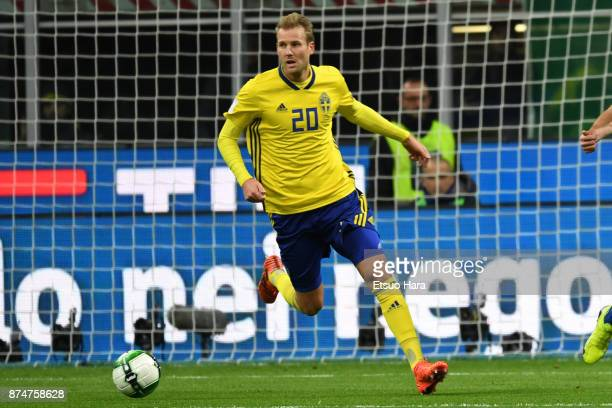Ola Toivonen of Sweden in action during the FIFA 2018 World Cup Qualifier PlayOff Second Leg between Italy and Sweden at San Siro Stadium on November...