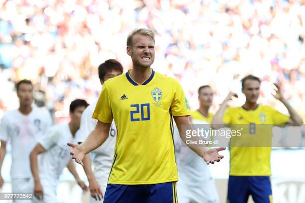 Ola Toivonen of Sweden reacts during the 2018 FIFA World Cup Russia group F match between Sweden and Korea Republic at Nizhniy Novgorod Stadium on...
