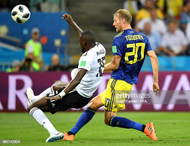 Ola Toivonen of Sweden scores his team's first goal during the 2018 FIFA World Cup Russia group F match between Germany and Sweden at Fisht Stadium...