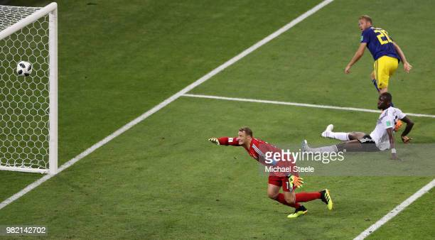 Ola Toivonen of Sweden scores his team's first goal past Manuel Neuer of Germany during the 2018 FIFA World Cup Russia group F match between Germany...