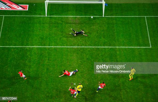 Ola Toivonen of Sweden scores to make it 11 during the International Friendly match between Sweden and Chile at Friends arena on March 24 2018 in...