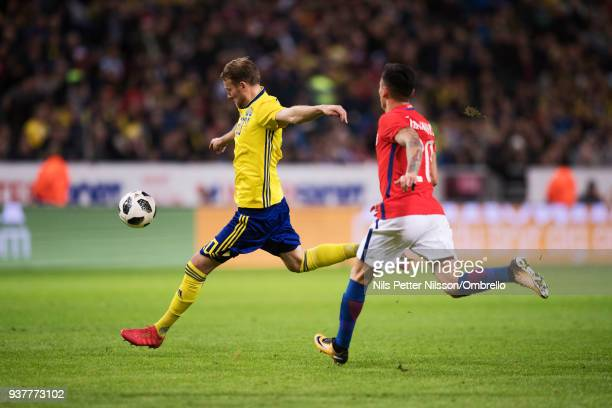 Ola Toivonen of Sweden shoots during the International Friendly match between Sweden and Chile at Friends arena on March 24 2018 in Solna Sweden