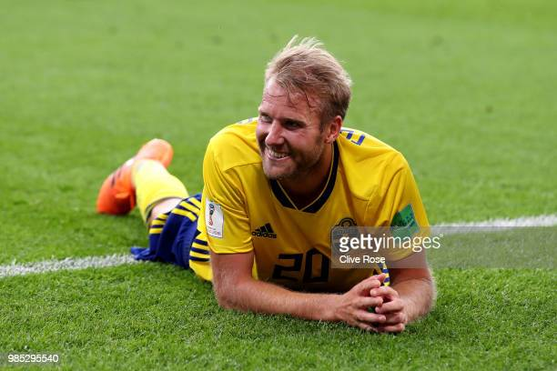 Ola Toivonen of Sweden smiles following the 2018 FIFA World Cup Russia group F match between Mexico and Sweden at Ekaterinburg Arena on June 27 2018...