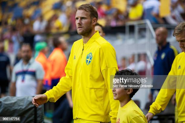 Ola Toivonen of Sweden walks on the pitch ahead of the International Friendly match between Sweden and Denmark at Friends Arena on June 2 2018 in...