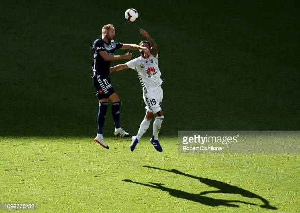 Ola Toivonen of the Victory and Thomas Doyle of the Wellington Phoenix compete for the ball during the round 14 ALeague match between the Melbourne...