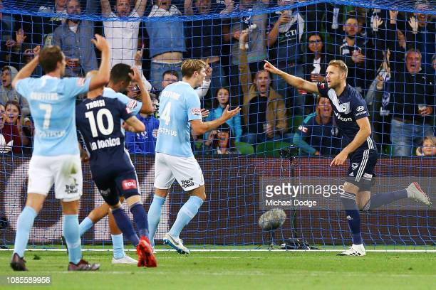 Ola Toivonen of the Victory celebrates a goal during the round nine ALeague match between Melbourne City and Melbourne Victory at AAMI Park on...