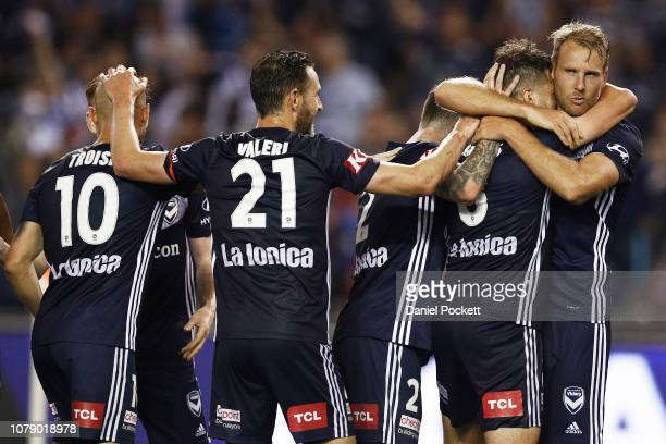 Ola Toivonen of the Victory celebrates a goal during the round seven A-League match between Melbourne Victory and Adelaide United at Marvel Stadium...