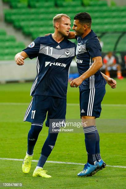 Ola Toivonen of the Victory celebrates after kicking a penalty goal during the AFC Champions League Group E match between Melbourne Victory and...