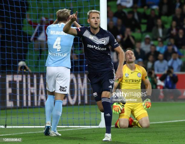 Ola Toivonen of the Victory celebrates after scoring a goal during the round nine ALeague match between Melbourne City and Melbourne Victory at AAMI...
