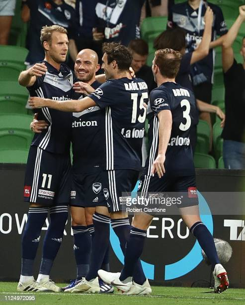 Ola Toivonen of the Victory celebrates after scoring a goal during the round 16 ALeague match between the Melbourne Victory and Sydney FC at AAMI...