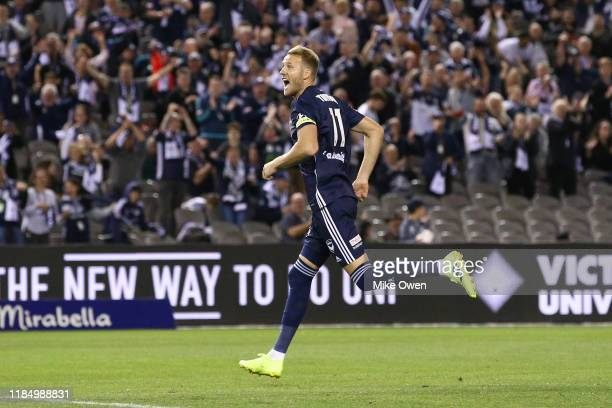 Ola Toivonen of the Victory celebrates after scoring a goal during the round four A-League match between Melbourne Victory and Western United at...
