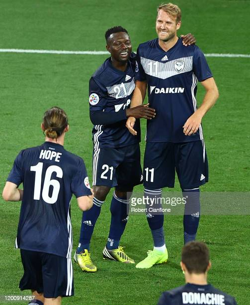 Ola Toivonen of the Victory celebrates after scoring a goal during the AFC Champions League: Preliminary Stage match between the Melbourne Victory...
