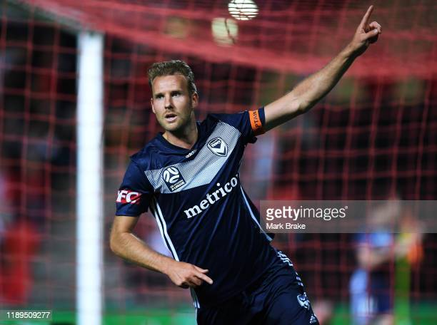 Ola Toivonen of the Victory celebrates after scoring his teams first goal during the round 7 A-League match between Adelaide United and Melbourne...