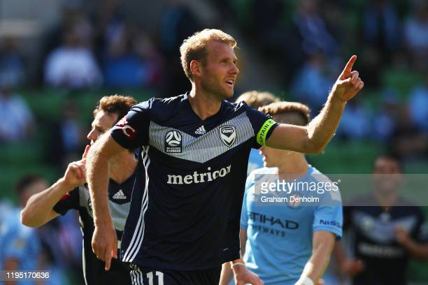 Ola Toivonen of the Victory celebrates his second goal during the round 11 A-League match between Melbourne City and Melbourne Victory at AAMI Park...
