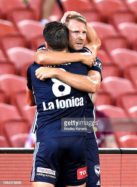 Ola Toivonen of the Victory celebrates scoring a goal during the round 15 ALeague match between the Brisbane Roar and the Melbourne Victory at...