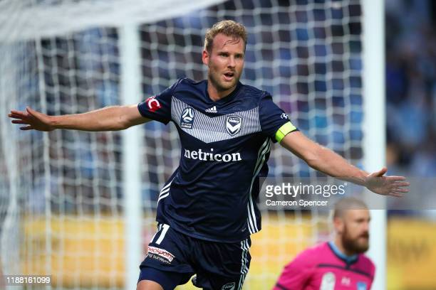 Ola Toivonen of the Victory celebrates scoring a goal during the round 6 A-League match between Sydney FC and Melbourne Victory at Netstrata Jubilee...