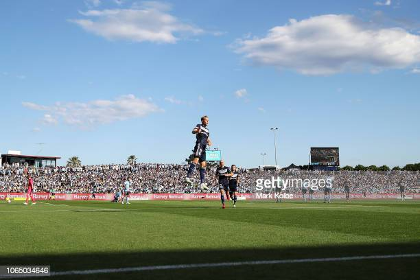 Ola Toivonen of the Victory celebrates scoring a goal during the round five ALeague match between Sydney FC and Melbourne Victory at WIN Jubilee...