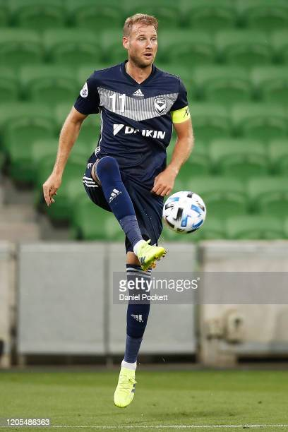 Ola Toivonen of the Victory controls the ball during the AFC Champions League Group E match between Melbourne Victory and Chiangrai United at...