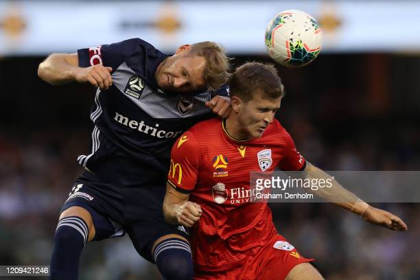 Ola Toivonen of the Victory heads the ball during the round 21 A-League match between the Melbourne Victory and Adelaide United at Marvel Stadium on...