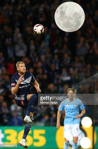 Ola Toivonen of the Victory heads the ball during the round nine ALeague match between Melbourne City and Melbourne Victory at AAMI Park on December...