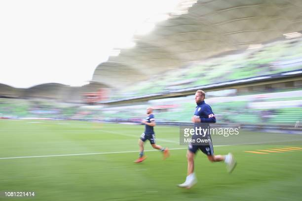 Ola Toivonen of the Victory is seen warming up prior to the round 13 ALeague match between the Melbourne Victory and the Newcastle Jets at AAMI Park...