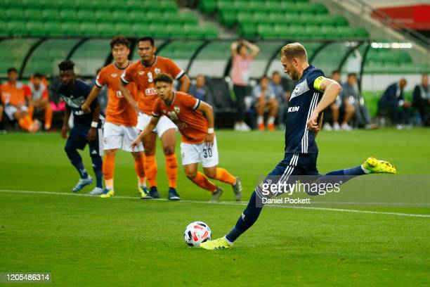 Ola Toivonen of the Victory kicks a penalty goal during the AFC Champions League Group E match between Melbourne Victory and Chiangrai United at...