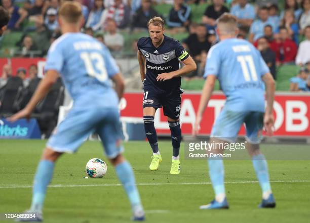 Ola Toivonen of the Victory lines up a free kick during the round 18 A-League match between Melbourne City and Melbourne Victory at AAMI Park on...
